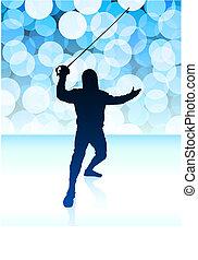 Fencer on Blue Lens Flare Background
