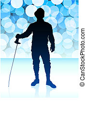Fencer on Blue Lens Flare Background