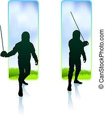 Fencer on Nature Banners Original Illustration