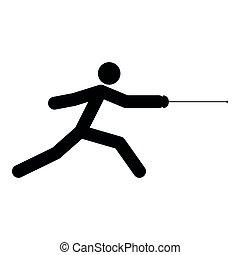Fencer stick icon black color icon - Fencer stick icon icon...