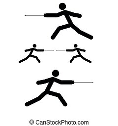Fencer stick icon black color illustration flat style simple...