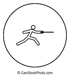 Fencer stick icon black color vector illustration simple...