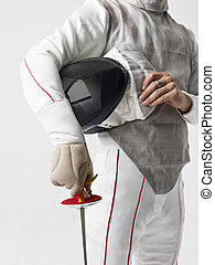 fencer with fencing mask and rapier.