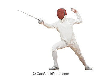 Fencing fencer in protective sport wear attacking with rapier foil isolated