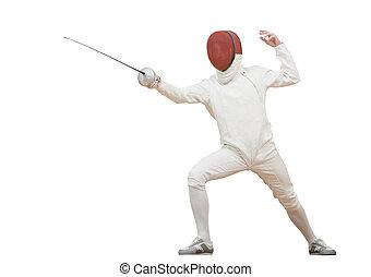 Fencer with rapier foil - Fencing fencer in protective sport...