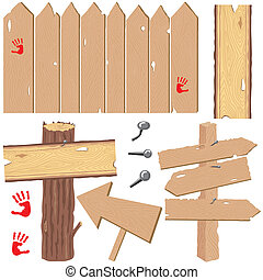 Selection of fence with knot holes, directional signs and log post with knotty plank wood sign