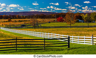 Fences and fields in Gettysburg, Pennsylvania. - Fences and...