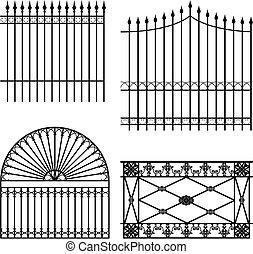 Fences - four different wrought iron modular fences