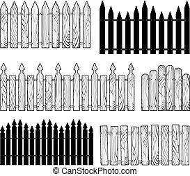 fences vector silhouettes - wooden b&w fences silhouettes ...