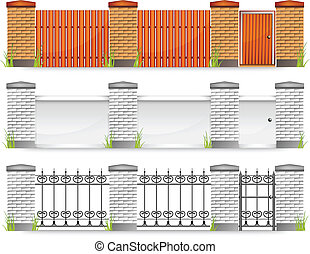 Fences with gate - Set of modern fences with gate and grass,...