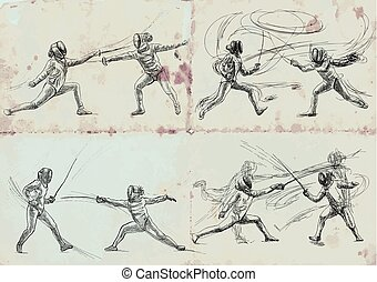 Fencing, collection - An hand drawn vector illustration....