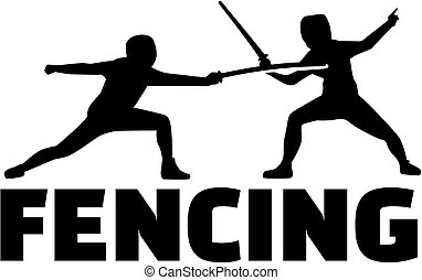 Fencing fighter with epees