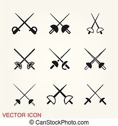 Fencing icon vector illustration on the background.
