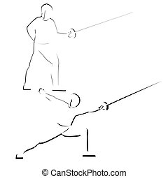 Fencing - Abstract image of the sportsman. Illustration on...