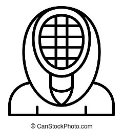 Fencing mask icon, outline style