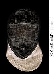 Fencing Mask on Black Background