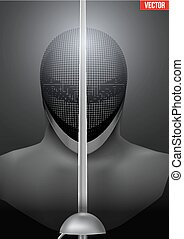 Fencing mask vector background illustration - Fencer holding...