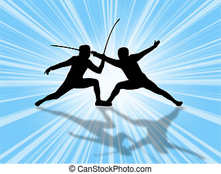 Fencing match against a very colorful background