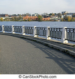 fences on the river embankment