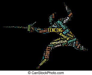 fencing pictogram with colorful colored related wordings on black background