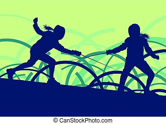 Fencing player fight abstract vector