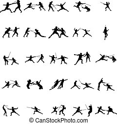 Fencing silhouette set