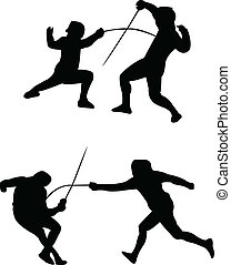 Fencing silhouettes - vector