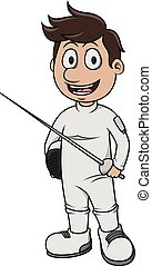 Fencing sport - Cartoon Illustration