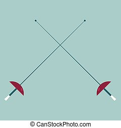 Fencing sport design, drawn cross two swords.