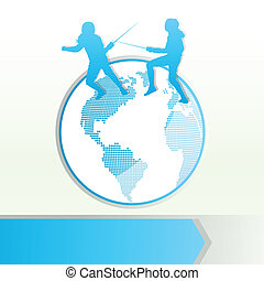 Fencing sport silhouette vector background concept