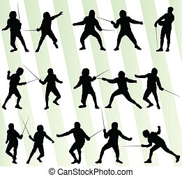 Fencing sport silhouette vector background set for poster