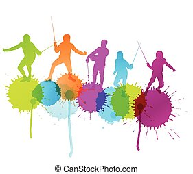 Fencing sport silhouette vector background concept with color splashes