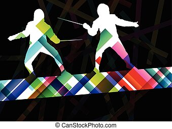 Fencing sport young and active men and women silhouettes in abstract background illustration