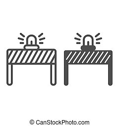 Fencing with alarm line and solid icon, labour day concept, under construction sign on white background, signal lights on fence icon in outline style for mobile and web design. Vector graphics.