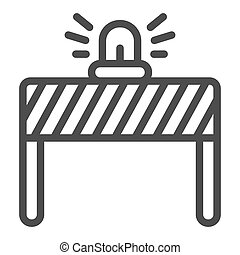 Fencing with alarm line icon, labour day concept, under construction sign on white background, signal lights on fence icon in outline style for mobile and web design. Vector graphics.