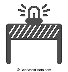 Fencing with alarm solid icon, labour day concept, under construction sign on white background, signal lights on fence icon in glyph style for mobile and web design. Vector graphics.
