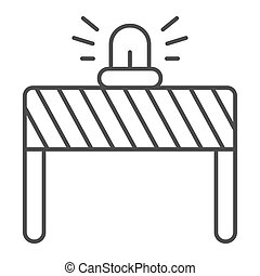 Fencing with alarm thin line icon, labour day concept, under construction sign on white background, signal lights on fence icon in outline style for mobile and web design. Vector graphics.