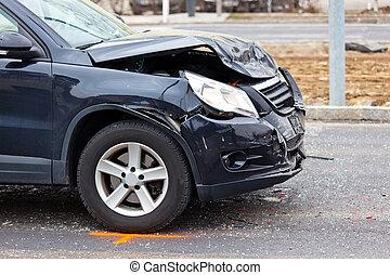 Fender-bender in car crash - A body damage after a car...
