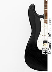 Black guitar, stratocaster on white background