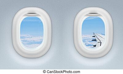 fenetres, avion, deux, jet, ou