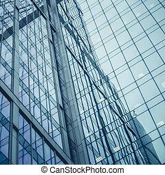 fenetres, bâtiment bureau, pour, fond