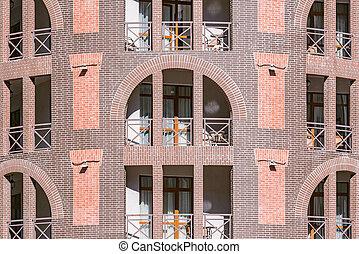 fenetres, balcons, bâtiment., nouveau