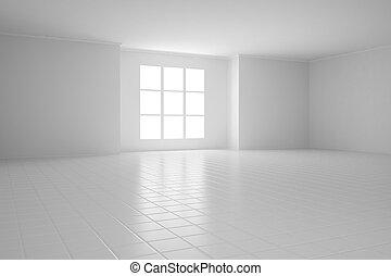 fenetres, blanc, carrée, salle, vide
