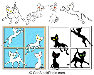fenetres, blanc, chats, noir
