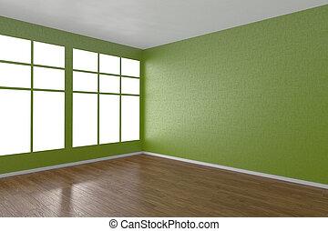 fenetres, coin, vert, salle, vide