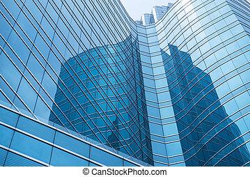 fenetres, de, bâtiment moderne