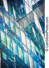 fenetres, de, moderne, bâtiment bureau
