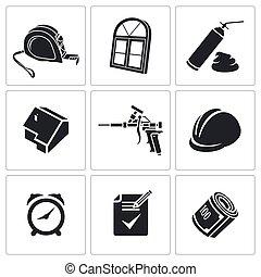 fenetres, ensemble, installation, icônes