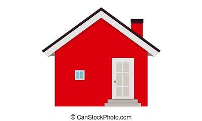 fenetres, là, rouges, eyes., construit, toit, coloré, maison, portes, dessin animé