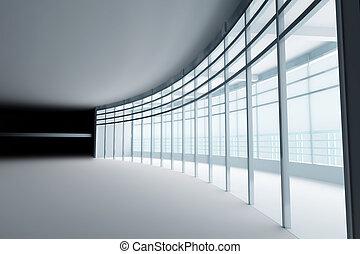 fenetres, lumière, verre, grand, salle, vide